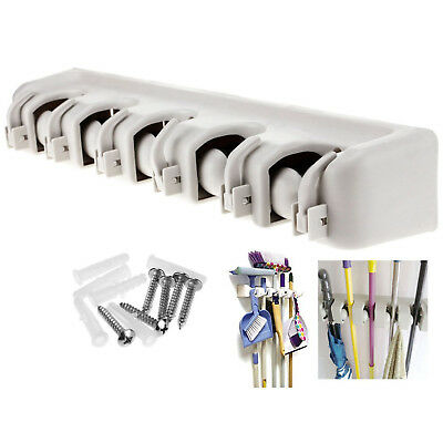 Wall Mounted 5 Rack Kitchen Storage Mop Organizer Holder Brush Broom Hanger Set