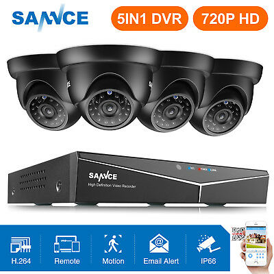 SANNCE 8CH 1080N DVR 720P Home Dome CCTV Security Camera System Outdoor Night UK