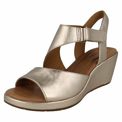 7f6fd77d325 Ladies Clarks Slingback Wedge Heeled Hook   Loop Leather Sandals Un Plaza  Sling