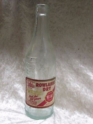 Vintage Glass Bottle Rowlands Dry RARE Original Paper Label Melb. Ballarat 23CmT