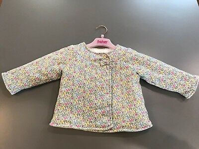 Girls Monsoon Reversable Floral Soft Jacket Coat Sz 12-18 Months