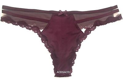 E3R SOLD OUT*NWT*Victoria/'s Secret Lace-Up Hipster Wide-Side Thong Panty-- --L//G