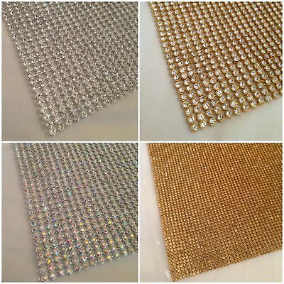 Iron On Chaton Strip Diamante Silver Rainbow Crystal & Gold in Various Size UK