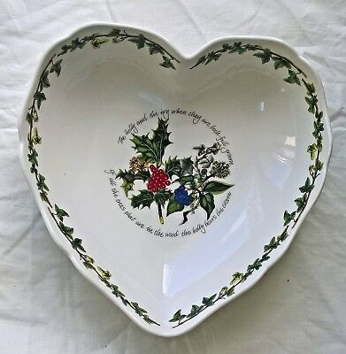 "PORTMEIRION HOLLY AND IVY SCALLOPED HEART DISH 8.5"" (20.5cm) WIDE NEW & BOXED"