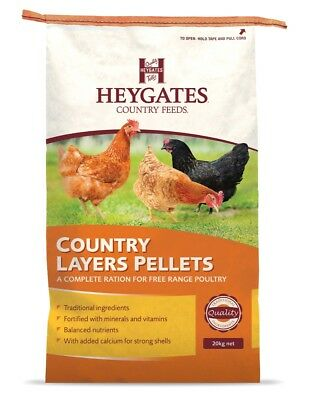 Heygates Country Layers Pellets Chickens Poultry Feed 20Kg *free P&p*