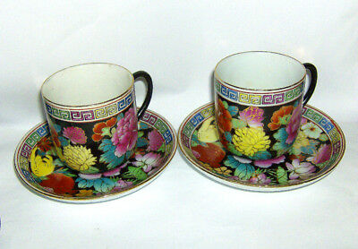 2 HAND painted Chinese COFFEE CUPS & saucers ( Floral on black bground pattern )