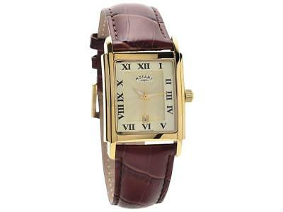 Rotary GS00004/09 Gold Plated Stainless Steel Leather Strap Watch Date RRP£150