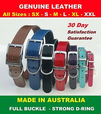 Genuine Cow Leather Dog Collar Sewn High Quality Full Buckle SIZES XS - XXL