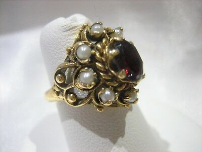 Vintage 14K Yellow Gold Garnet Seed Pearl Halo Ring 4.8 Grams Size 4.5