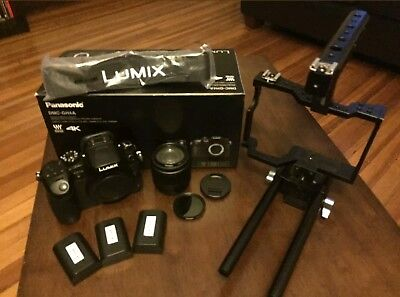 Panasonic LUMIX GH4 with cage and 25mm f/1.7 lens + extras (Excellent Condition)