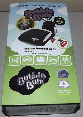 NIB BubbleBum Inflatable Booster Seat, Black/Silver
