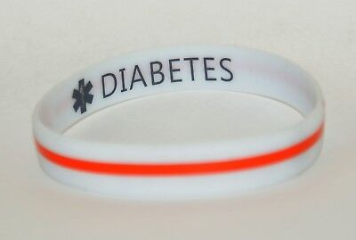 Silicone Medical Alert Bracelet Double Sided DIABETES Printed Length 21cm