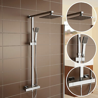 Twin Head Square Thermostatic Riser Shower Mixer Chrome Exposed Bar Valve Set 68
