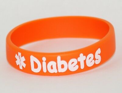 Silicone Medical Alert Sport Swimming Kids Bracelet DIABETES Printed L16cm