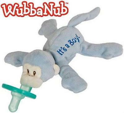 WubbaNub It's A Boy Blue Monkey Infant Binkie Pacifier Soothie Stuffed Animal