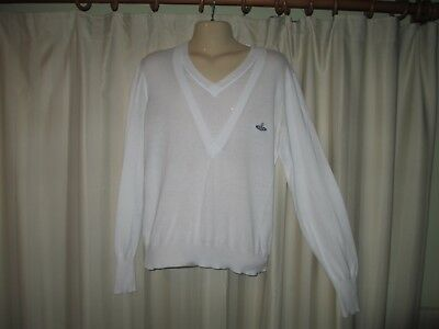 SUPER RARE Vivienne Westwood MAN white double-layer V-neck jumper CHIC & PREPPY!