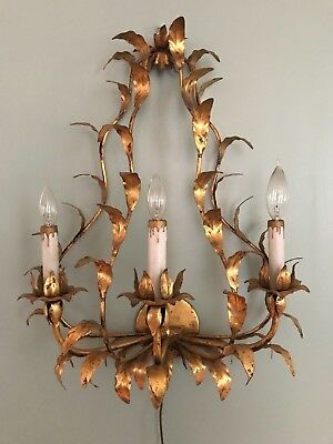 Antique French Wall Chandelier Sconce Light Lamp Vintage Gold Gilt Shabby Chic
