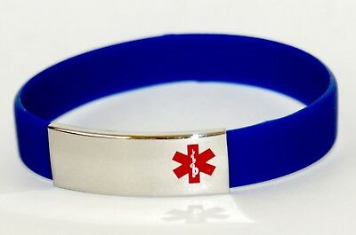 Silicone Medical Alert Bracelet Engravable Stainless Steel Blank Plate 21cm Blue