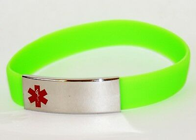 Medical Alert Bracelet Engravable Stainless Steel Blank Plate 21cm Green