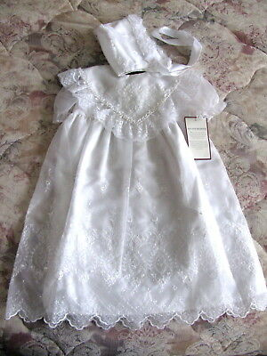 NWT White Christening Baptism Baby Dedication Easter Dress w Bonnet Gown 9-12 mo