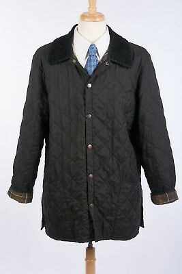Mens BARBOUR Jacket Sz L 'Eskdale' in Soot Black Diamond Quilted Polyfill Coat