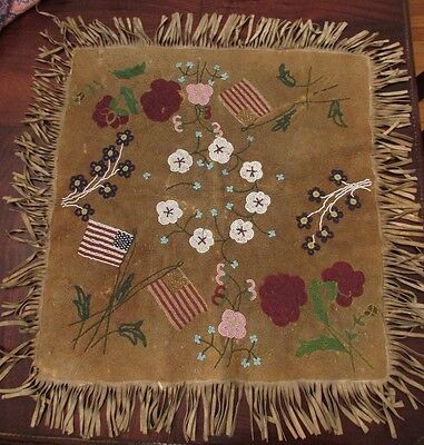 "ANTIQUE PLATEAU BEADED BUCKSKIN MAT ! 27"" x  27"" ornate flags and wildflowers"