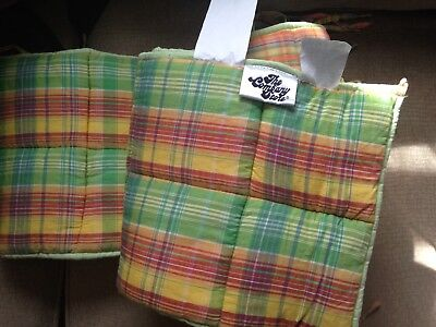 The Company Store Kids Bumper Pad for crib in MADRAS PLAID Green Orange Multi