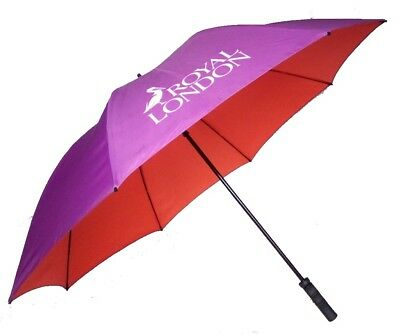 Large Golf Umbrella with Double Canopy in Purple & Orange - Windproof Fibreglass