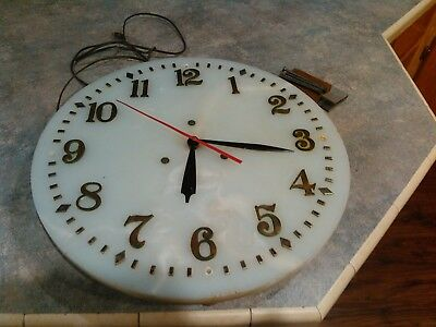 Large Antique Marble Dial Bank Clock.Brass Numbers.20 inches Across.Rare Find!!