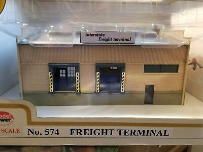 Model Power, Ho Scale Built Up Building, Lighted W/ 2 Figures, Freight Terminal