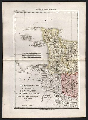 1790 Frankreich: Districts de Normandie et du Maine Perche, by R. Bonne (B)