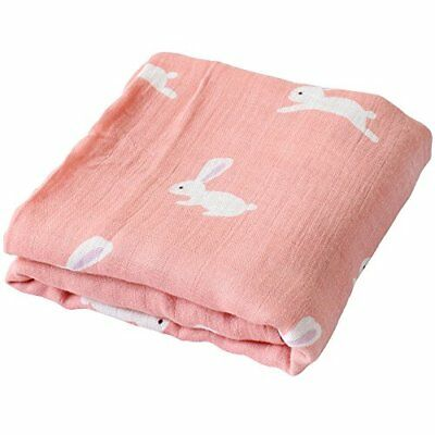 """Muslin Swaddle Blankets - 70% Bamboo / 30% Cotton Large Size 47""""x 47"""" - """"Bunny"""