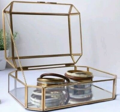 By Savvy Vintage Brass Metal and Glass Lidded Jewellery Box Storage Trinkets