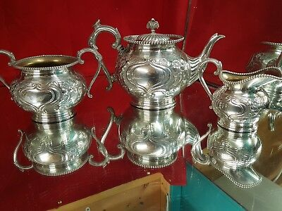a vintage embossed silver plated tea set by george travis & co.sheffield.rare.