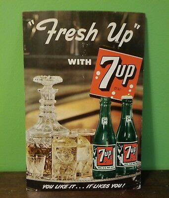 1950 7Up Store Counter Display/ Litho Cardboard Sign