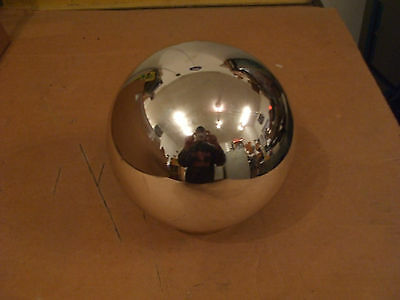 New Giant 8 Inch Diameter Mirrored Glass Pinball With Gold Display Base