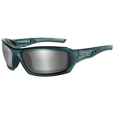 Wiley X WX Echo Glasses Smoke Grey Silver Flash Lens Smoke Steel Blue Frame