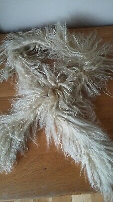 Ladies Genuine Beige Mongolian Sheepskin Lamb Fur Long Curly Scarf Boa