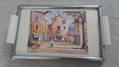 vintage retro Zimco tray with Spanish print picture signed George Hann