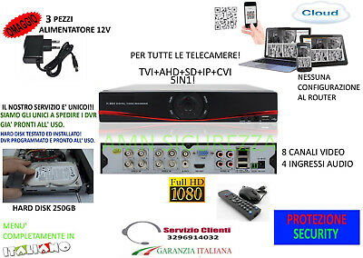 Dvr 8 Canali D1 960H Hdmi  Ip Cloud Videosorveglianza Ibrido Hard Disk 250Gb