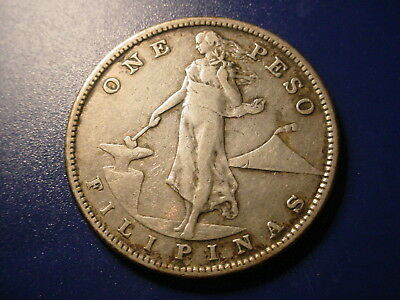 Philippines - Large Silver - 1908-S Peso In Nice Condition