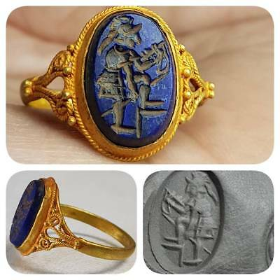 Ancient Lapis lazuli king Hunting stone High Karat Gold Ring    # F