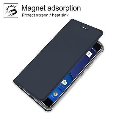 save off d9649 6ca7d BLU VIVO 8 Case Leather Slim Cover Ultra Thin Waterproof Magnet TPU Back  Blue