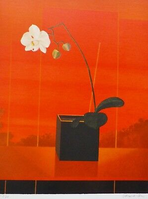 Pierre Garcia-Fons Orchid on red HAND SIGNED LIM.EDITION LITHOGRAPH French