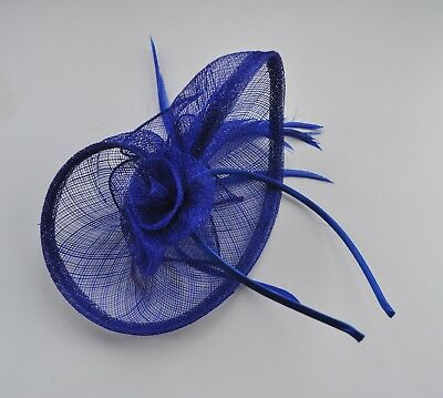 Cobalt/Sapphire/royal blue sinamay & feather fascinator headband. Wedding/races