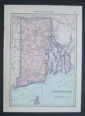 103 yr-old Original Antique 1915 Atlas Map of Rhode Island and Connecticut