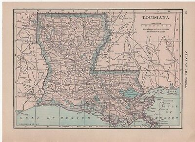 Original Antique 1915 Atlas Map of Louisiana and Arkansas