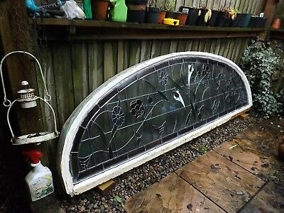 Large Salvaged Stained Glass Arched Window Triple Glazed