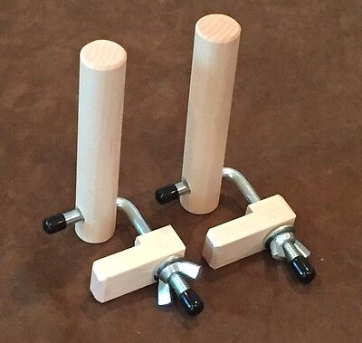 Two Hard Maple Warping Pegs w/ Clamps for a Weaving Loom