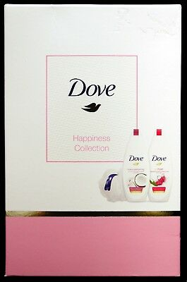 Dove Happiness Collection Gift Set : 2 x Body Wash & 1 x Shower Puff - BNIB